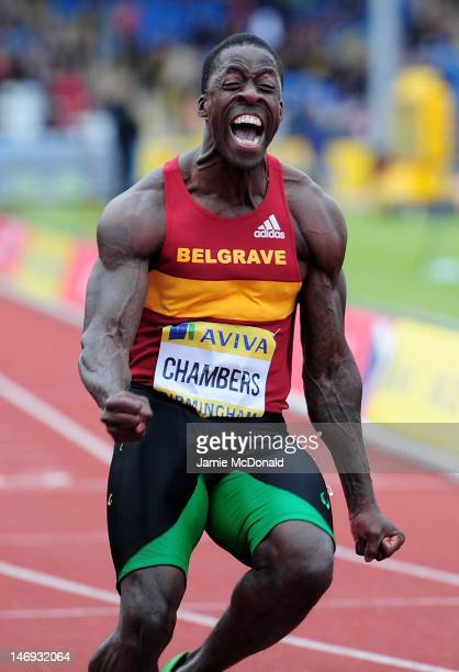 Dwain Chambers of Great Britain celebrates winning the Men's 100 Metres Final during day two of the Aviva 2012 UK Olympic Trials and Championship at...