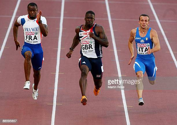 Dwain Chambers of Great Britain competes during the men's 100m race a during day one at the Spar European Team Championship at the Estadio Municipal...