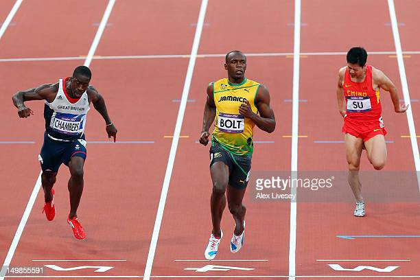 Dwain Chambers of Great Britain Usain Bolt of Jamaica and Bingtian Su of China compete in the Men's 100m Semi Final on Day 9 of the London 2012...