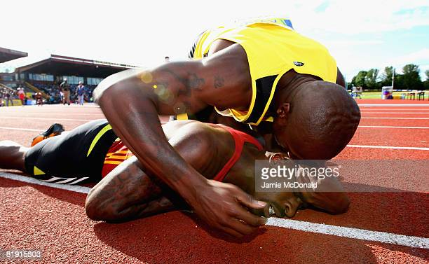 Dwain Chambers of Great Britain wins the 100m final during the Aviva National Championships Olympic Trials at Alexander Stadium on July 12 2008 in...