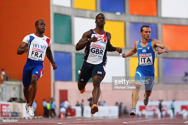 Dwain Chambers of Great Britain wins the men's 100m during day one of the Spar European Team Championships at the Estadio Municipal DrMagalhaes...