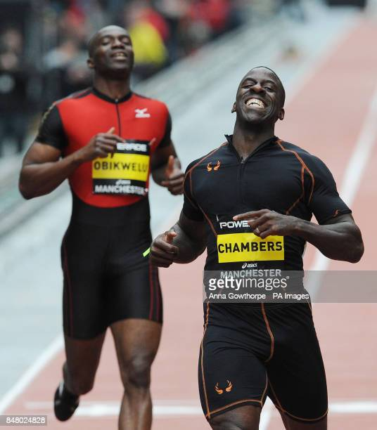 Dwain Chambers reacts after being beaten into second place by Wallace Spearmon in the Men's 150m event during the Great CityGames on Deansgate...