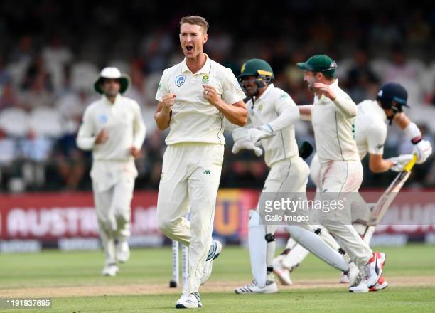Dwaine Pretorius of South Africa celebrate the dismissal of Joe Root of England during day 3 of the 2nd Test match between South Africa and England...