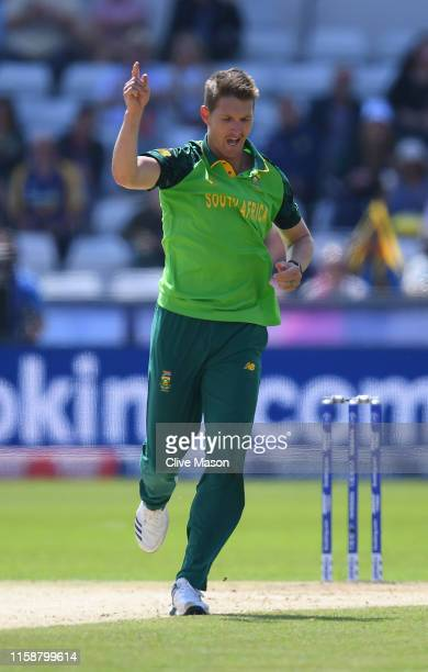 Dwaine Pretorius of South Africa celebrates dismissing Kusal Perera of Sri Lanka during the Group Stage match of the ICC Cricket World Cup 2019...