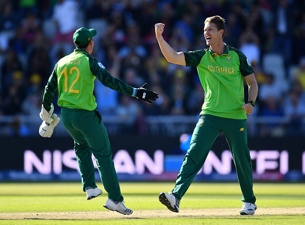 Dwaine Pretorious of Proteas Cricket celebrates the wicket of Steve Smith at the Cricket World Cup 2019.