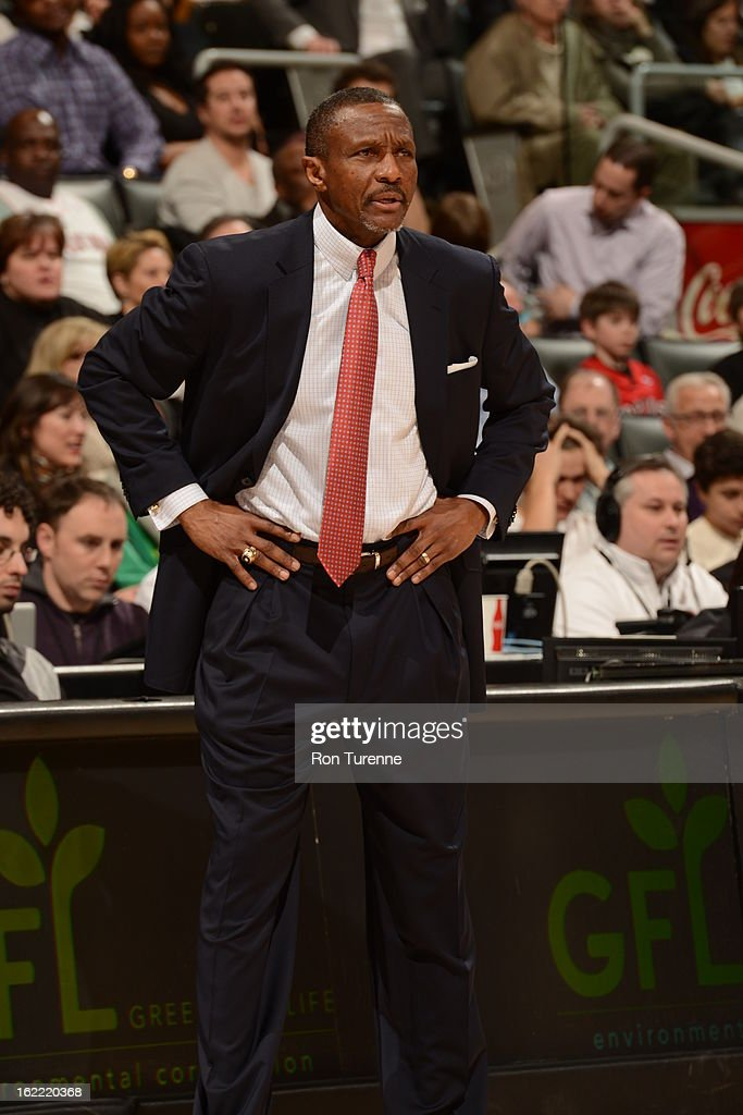 Dwane Casey, Head Coach of the Toronto Raptors, looks on during the game against the Memphis Grizzlies on February 20, 2013 at the Air Canada Centre in Toronto, Ontario, Canada.