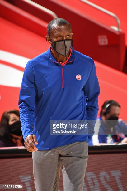 Dwane Casey of the Detroit Pistons coaches against the LA Clippers on April 14, 2021 at Little Caesars Arena in Detroit, Michigan. NOTE TO USER: User...