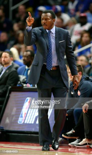 Dwane Casey of the Detroit Pistons during the first half of Game Three of the first round of the 2019 NBA Eastern Conference Playoffs against the...