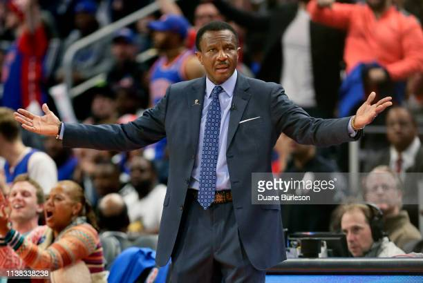Dwane Casey of the Detroit Pistons gestures to an official during the first half of Game Three of the first round of the 2019 NBA Eastern Conference...