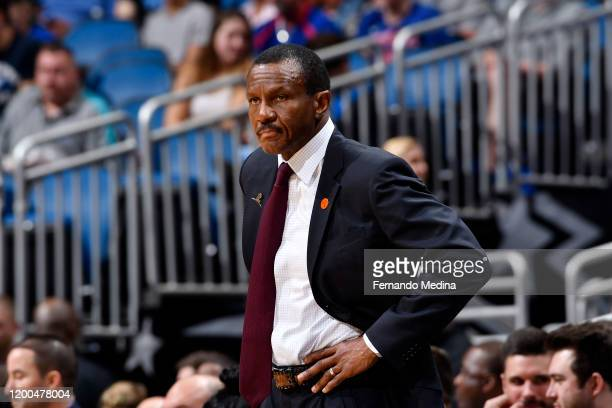 Dwane Casey of the Detroit Pistons looks on during the game against the Orlando Magic on February 12, 2020 at Amway Center in Orlando, Florida. NOTE...