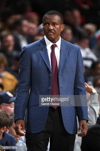 Dwane Casey of the Detroit Pistons looks on during the game on February 25, 2020 at the Pepsi Center in Denver, Colorado. NOTE TO USER: User...