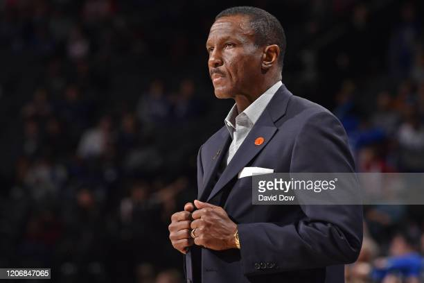 Dwane Casey of the Detroit Pistons looks on during the game on March 11, 2020 at the Wells Fargo Center in Philadelphia, Pennsylvania. NOTE TO USER:...