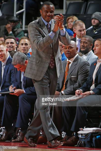 Dwane Casey of the Detroit Pistons reacts to a play during the game against the Utah Jazz on March 7 2020 at Little Caesars Arena in Detroit Michigan...