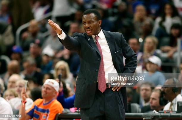 Dwane Casey of the Detroit Pistons shouts to his team during the second half of Game Four of the first round of the 2019 NBA Eastern Conference...