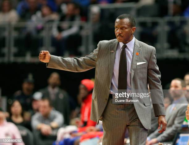 Dwane Casey of the Detroit Pistons signals a play during the second half of a game against the New York Knicks at Little Caesars Arena on February 8...