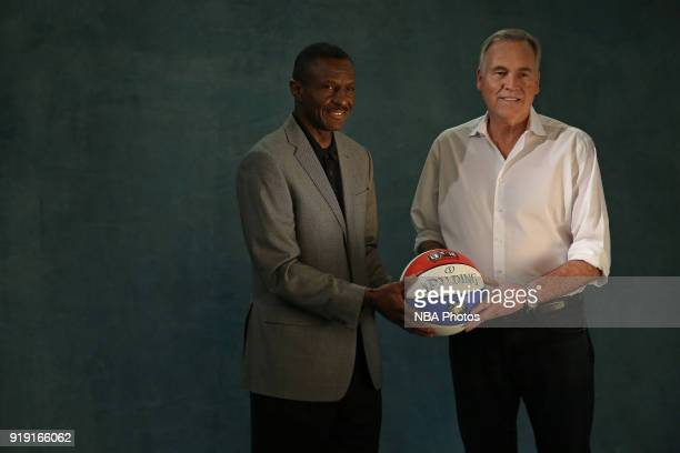 Dwane Casey of the Toronto Raptors and Mike D'Antoni of the Houston Rockets smile during a portrait shoot as part of the 2018 NBA AllStar Weekend on...