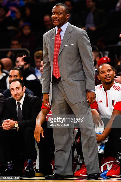 Dwane Casey of the Toronto Raptors looks on during a game against the New York Knicks at Madison Square Garden on October 13 2014 in New York City...