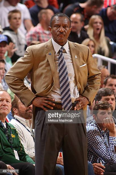 Dwane Casey of the Toronto Raptors looks on during the game against the Utah Jazz on November 18 2015 at EnergySolutions Arena in Salt Lake City Utah...