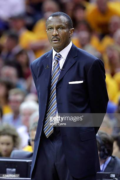 Dwane Casey of the Toronto Raptors looks on in the second half against the Cleveland Cavaliers in game five of the Eastern Conference Finals during...