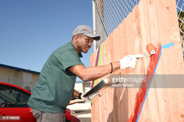 Dwane Casey of the Toronto Raptors participate with KaBOOM during NBA Cares AllStar Day of Service as a part of 2018 NBA AllStar Weekend on February...