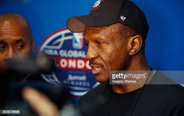 Dwane Casey of the Toronto Raptors talks to the media after practice as part of 2016 London Global Games on January 12 2016 in London England NOTE TO...