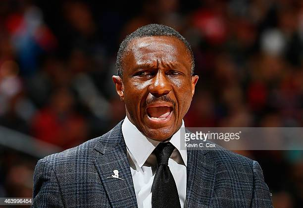 Dwane Casey of the Toronto Raptors yells to his team during the game against the Atlanta Hawks at Philips Arena on February 20 2015 in Atlanta...