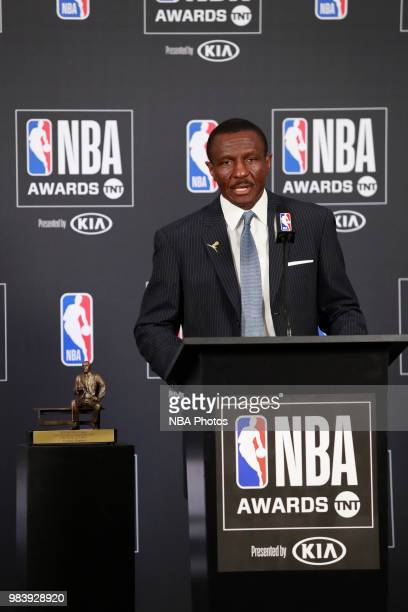 Dwane Casey talks to the media during a press conference after winning Coach of the Year at the NBA Awards Show on June 25, 2018 at the Barker Hangar...