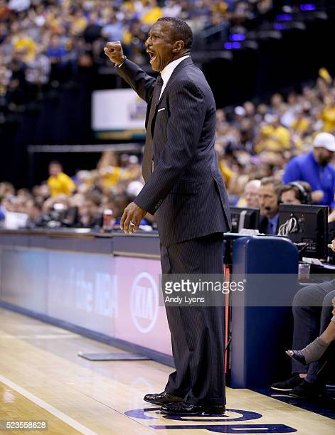 Dwane Casey the head coach of the Toronto Raptors gives instructions to his team against the Indiana Pacers during game four of the 2016 NBA Eastern...