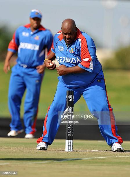 AFRICA APRIL 06 Dwane Leverock of Bermuda in action during the ICC Mens Cricket World Cup qualifier match between Kenya and Bermuda at Senwes Park on...