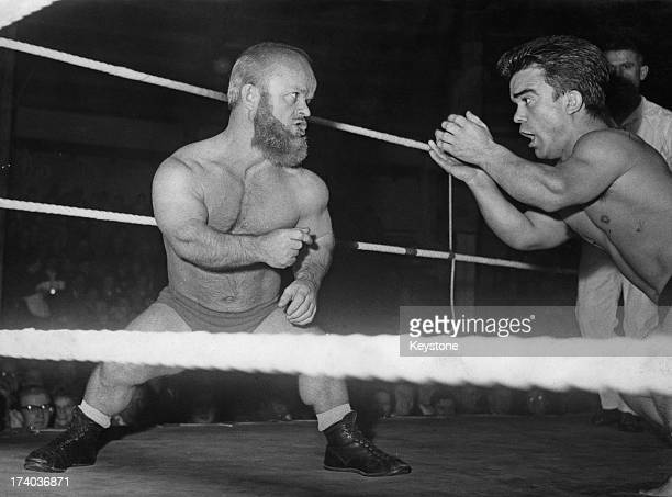 A 'dwarf catching' match in Munich 20th November 1958 On the left is Ivan the Horrible and on the right The Black Panther