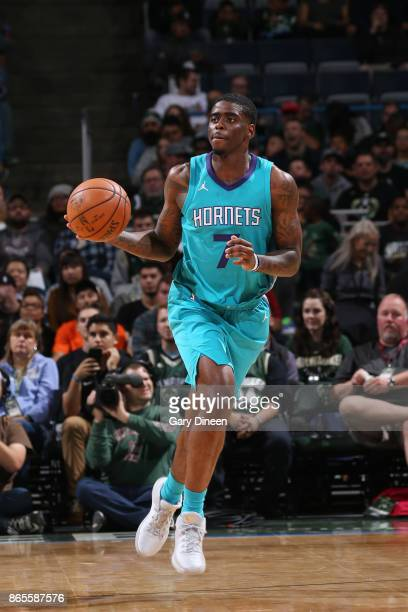 Dwayne Bacon of the Charlotte Hornets brings the ball up court against the Milwaukee Bucks on October 23 2017 at the BMO Harris Bradley Center in...