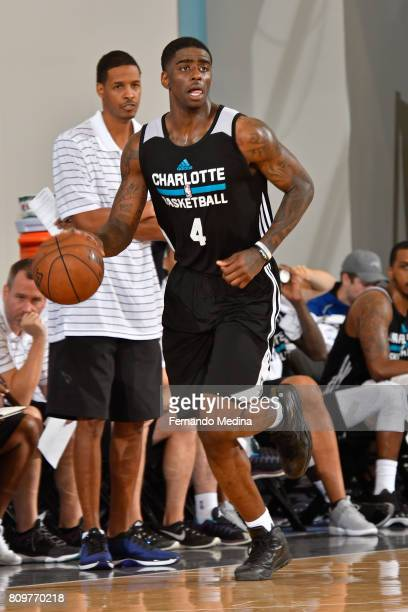 Dwayne Bacon of the Charlotte Hornets dribbles the ball up court against the Orlando Magic during the Mountain Dew Orlando Pro Summer League on July...