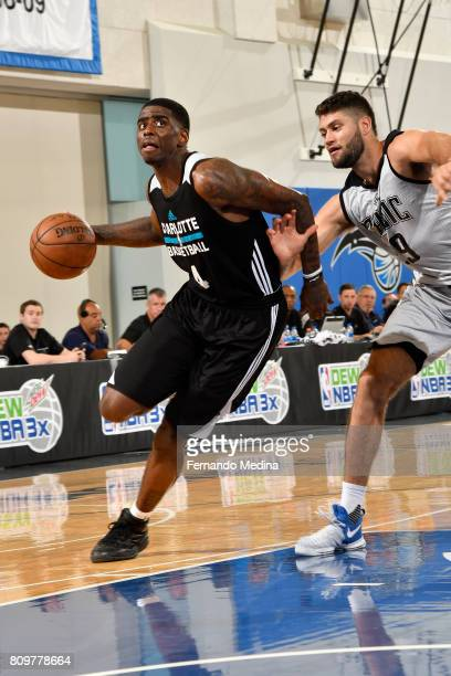 Dwayne Bacon of the Charlotte Hornets drives to the basket against the Orlando Magic during the Mountain Dew Orlando Pro Summer League on July 6 2017...