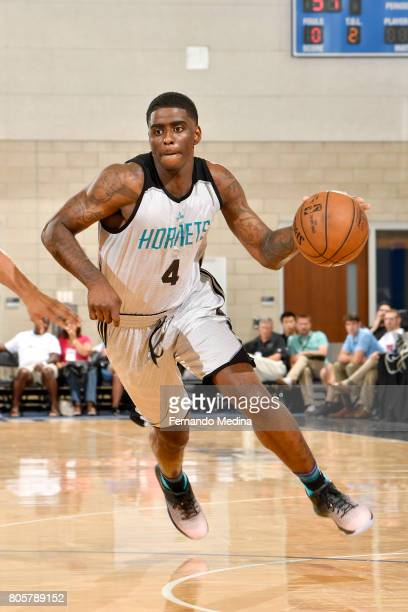 Dwayne Bacon of the Charlotte Hornets handles the ball against the Indiana Pacers during the 2017 Summer League on July 2 2017 at Amway Center in...