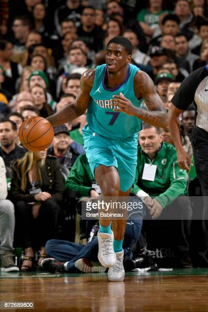Dwayne Bacon of the Charlotte Hornets handles the ball against the Boston Celtics on November 10 2017 at the TD Garden in Boston Massachusetts NOTE...