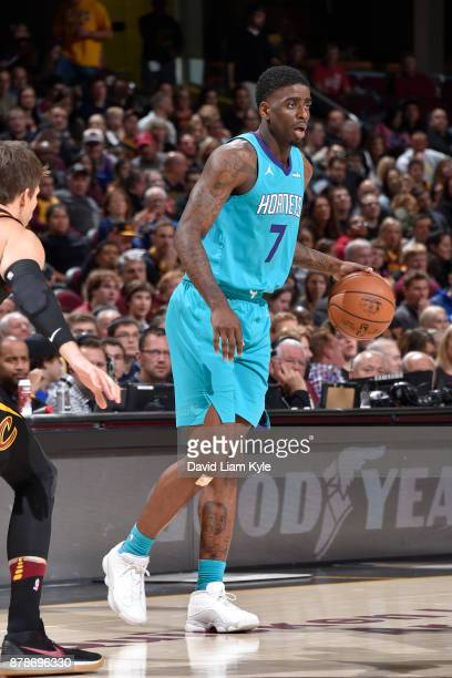 Dwayne Bacon of the Charlotte Hornets handles the ball against the Cleveland Cavaliers on Novmber 24 2017 at Quicken Loans Arena in Cleveland Ohio...
