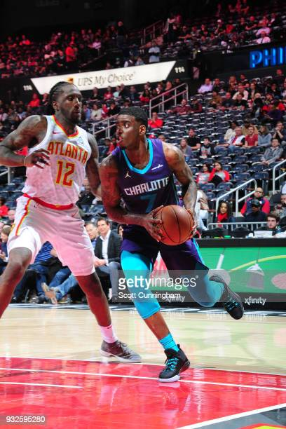 Dwayne Bacon of the Charlotte Hornets handles the ball against the Atlanta Hawks on March 15 2018 at Philips Arena in Atlanta Georgia NOTE TO USER...