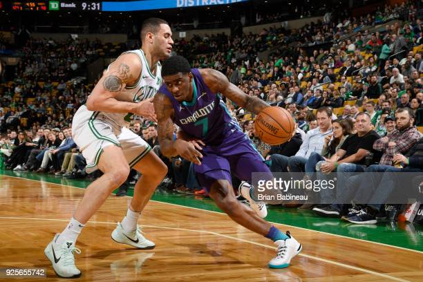 Dwayne Bacon of the Charlotte Hornets handles the ball during the game against the Boston Celtics on February 28 2018 at the TD Garden in Boston...