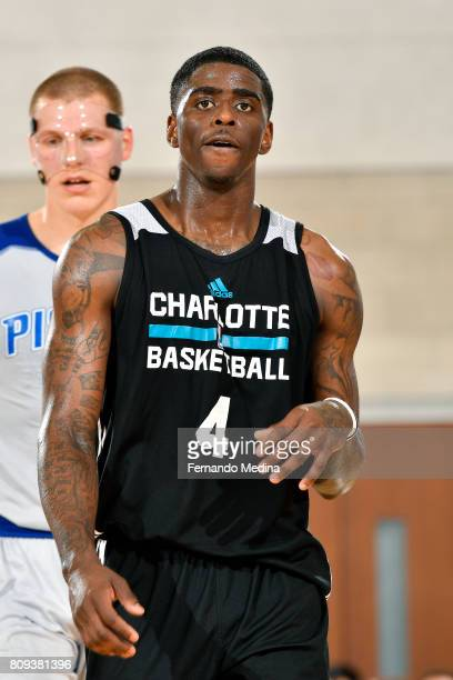 Dwayne Bacon of the Charlotte Hornets looks on during the game against the Detroit Pistons during the 2017 Orlando Summer League on July 5 2017 at...