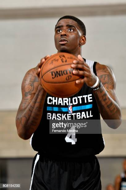 Dwayne Bacon of the Charlotte Hornets shoots a free throw during the game against the Oklahoma City Thunder during the 2017 Orlando Summer League on...