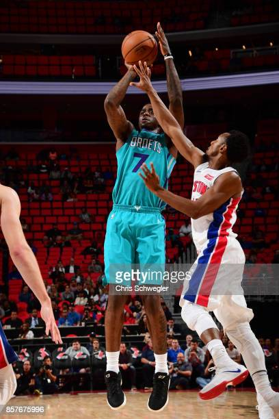 Dwayne Bacon of the Charlotte Hornets shoots the ball against the Detroit Pistons during a preseason game on October 4 2017 at The Palace of Auburn...