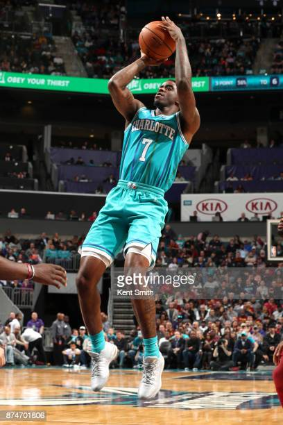 Dwayne Bacon of the Charlotte Hornets shoots the ball against the Cleveland Cavaliers on November 15 2017 at Spectrum Center in Charlotte North...