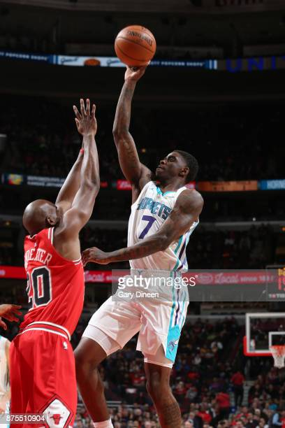 Dwayne Bacon of the Charlotte Hornets shoots the ball against the Chicago Bulls on November 17 2017 at the United Center in Chicago Illinois NOTE TO...