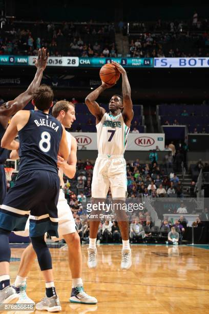 Dwayne Bacon of the Charlotte Hornets shoots the ball against the Minnesota Timberwolves on November 20 2017 at Spectrum Center in Charlotte North...