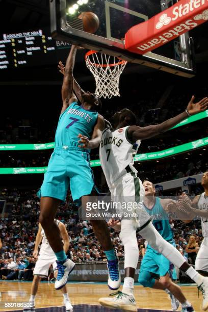Dwayne Bacon of the Charlotte Hornets shoots the ball during the game against the Milwaukee Bucks on November 1 2017 at Spectrum Center in Charlotte...
