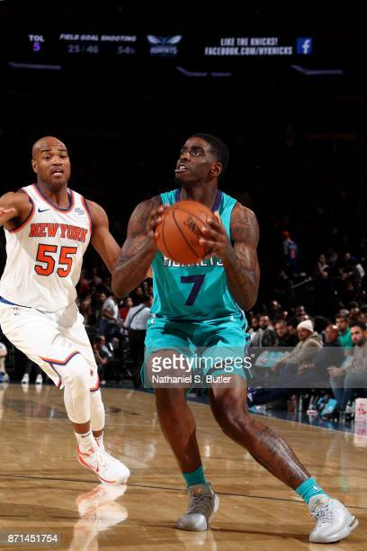 Dwayne Bacon of the Charlotte Hornets shoots the ball during the game against the New York Knicks on November 7 2017 at Madison Square Garden in New...