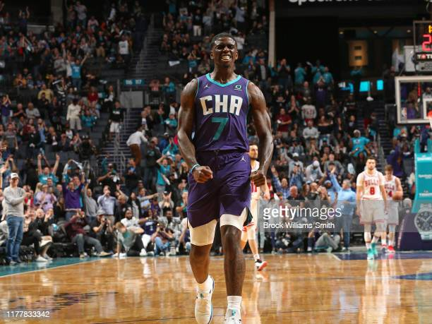 Dwayne Bacon of the Charlotte Hornets shows emotion during the game against the Chicago Bulls on October 23, 2019 at Spectrum Center in Charlotte,...
