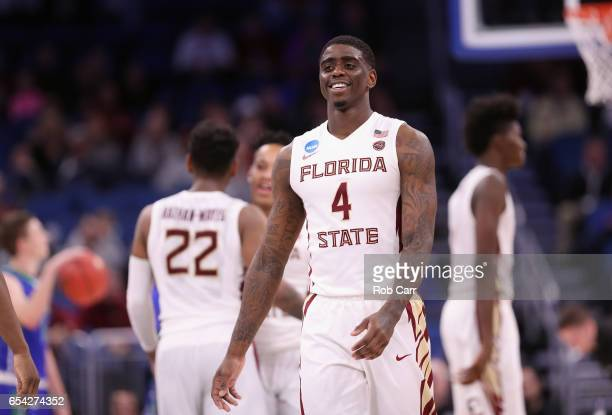 Dwayne Bacon of the Florida State Seminoles reacts after defeating the Florida Gulf Coast Eagles 8680 in the first round of the 2017 NCAA Men's...