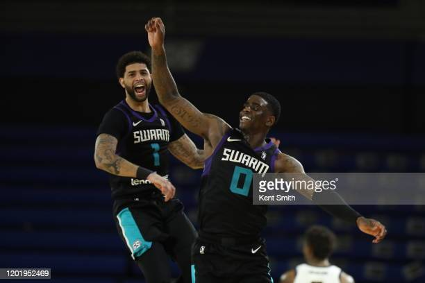 Dwayne Bacon of the Greensboro Swarm celebrates after the game against the Fort Wayne Mad Ants at The Fieldhouse in Greensboro, North Carolina. NOTE...