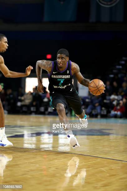 Dwayne Bacon of the Greensboro Swarm handles the ball against the Canton Charge on January 21, 2019 at Greensboro Coliseum Fieldhouse in Greensboro,...